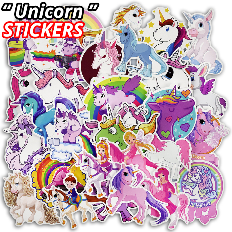 цена на New 30 Pcs Unicorn Stickers for Laptop Luggage Bike Motorcycle Car Styling Home Decor Decals Cute Funny Waterproof Fixed Sticker