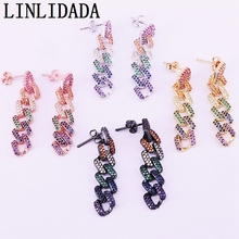 5Pair Micro Pave Colorful CZ Zirconia Dangle Earrings Rainbow Fashion Multicolor Party Jewelry