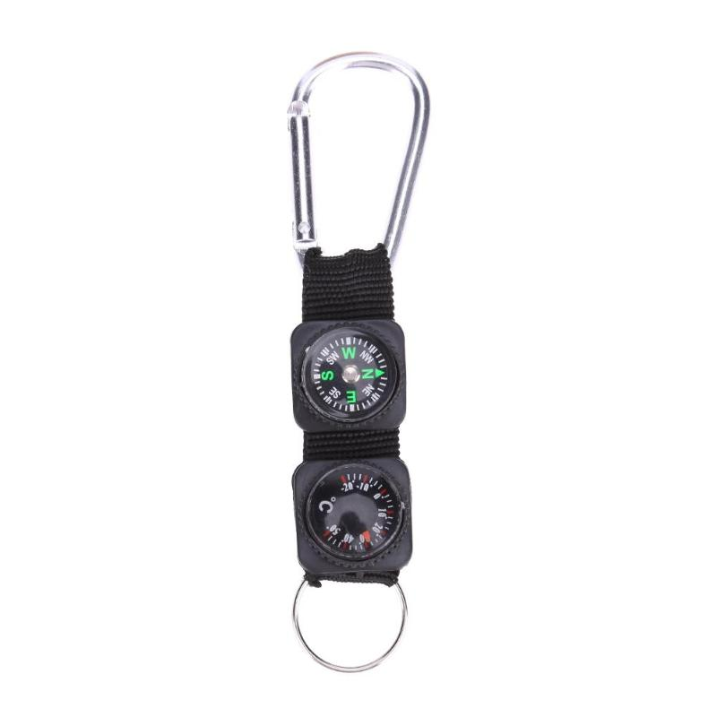 1x 3in1 Compass Thermometer Outdoor Hiking Tactical Survival Carabiner Key Ring