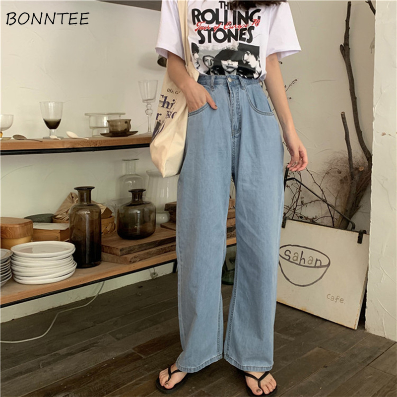 Jeans   Women Retro Straight Thin High Quality Denim Trousers Chic Womens Korean Style Pockets Ladies All-match Daily Simple Loose