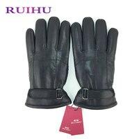 RUIHU Männer Winter Schaffell Reine Echtem Leder Handschuhe größe 8 Handgelenk Fleece Gefüttert Dame Elegante Hochwertige Handschuhe Handschuhe 937