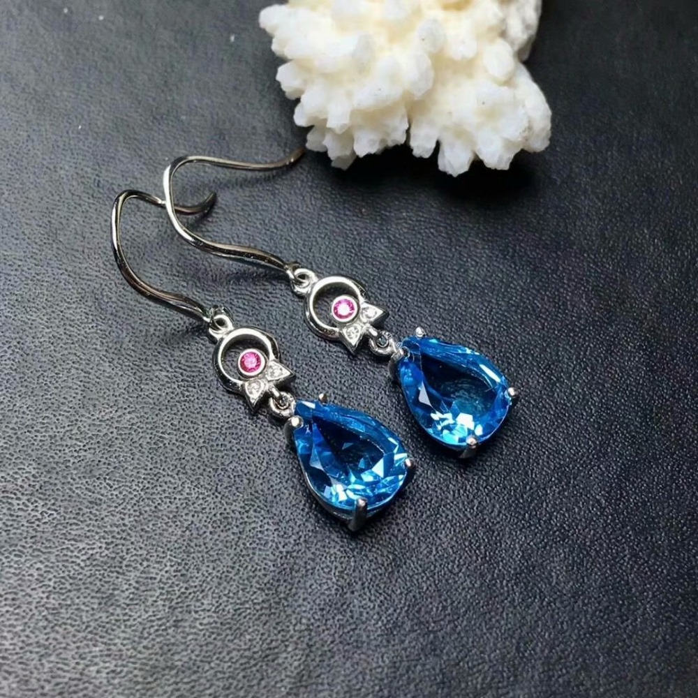 shilovem 925 silver sterling real natural Blue topaz Drop Earrings fine Jewelry new wholesale women new gift 8*10mm me081008agbshilovem 925 silver sterling real natural Blue topaz Drop Earrings fine Jewelry new wholesale women new gift 8*10mm me081008agb