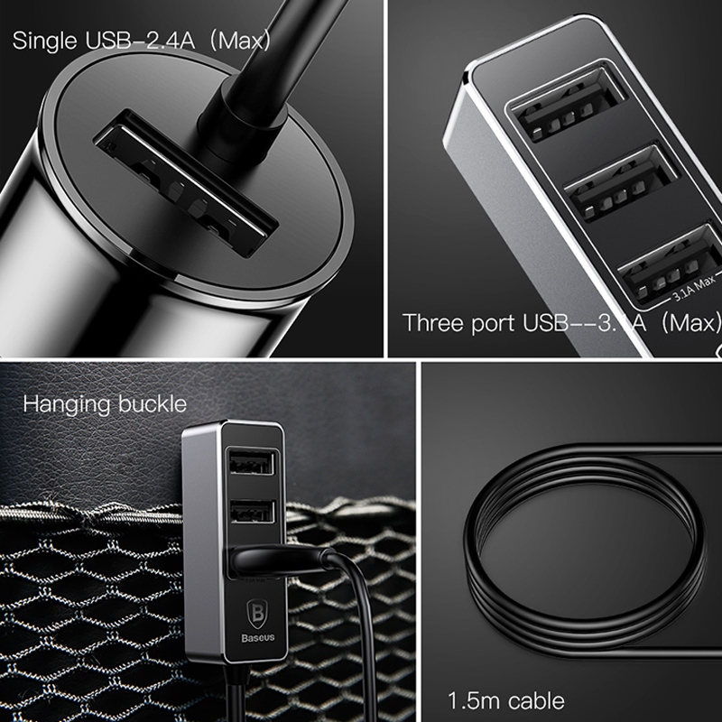 Baseus Multi 4 Ports USB Car Charger Multiple 5.5A Turbo Fast Car Charging USB Charger For iPhone X Samsung Xiaomi Mobile Phone