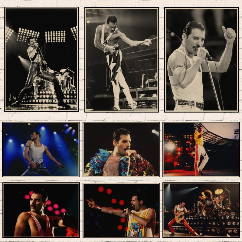Queen Band Music Kraft Paper Poster Freddie Mercury Singer Art Classic Retro Posters Home Room Decor Wall Sticker A1