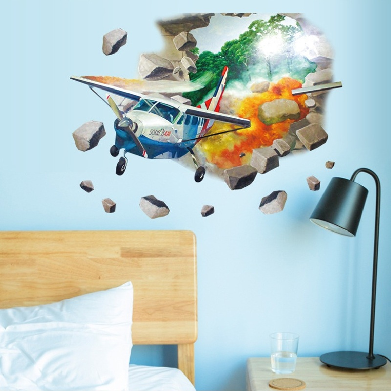 Adesivo De Parede Real New 3d Airplane Out Of Wall Room Stickers Home Decal Sticker Post ...