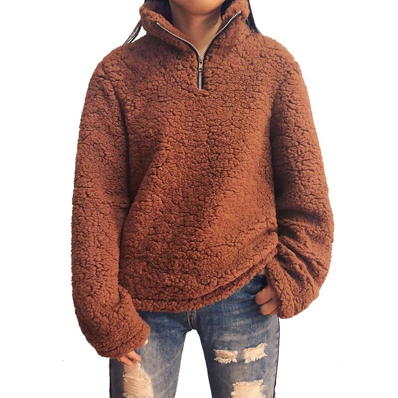 OEAK 3XL Faux Lambswool Women Hoodie Sweatshirt Autumn Winter Warm Stand Collar Pullover Casual Fleece Zipper Size Plus sudadera