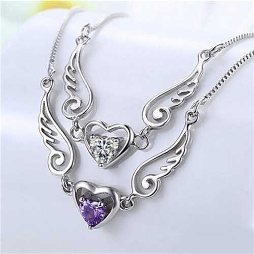 Velishy Silver Plated Necklace Dream Angel Wing of Love Heart Female Necklace Birthday Young girl's present Fantasy romance gift