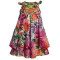 2016 лето Новое поступление Горячей продажи!! Catimini девушки жилет необычные платья девочка лук цветочный принт принцесса марка туту платья