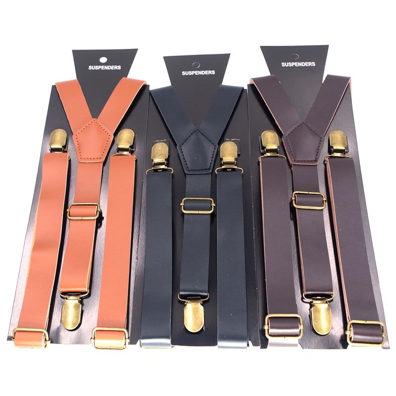 PU Leather Suspenders Braces 3 Clips Clip-on Men Women Suspenders Bretelles Hommes Tirantes Hombre Suspensorios Bretels