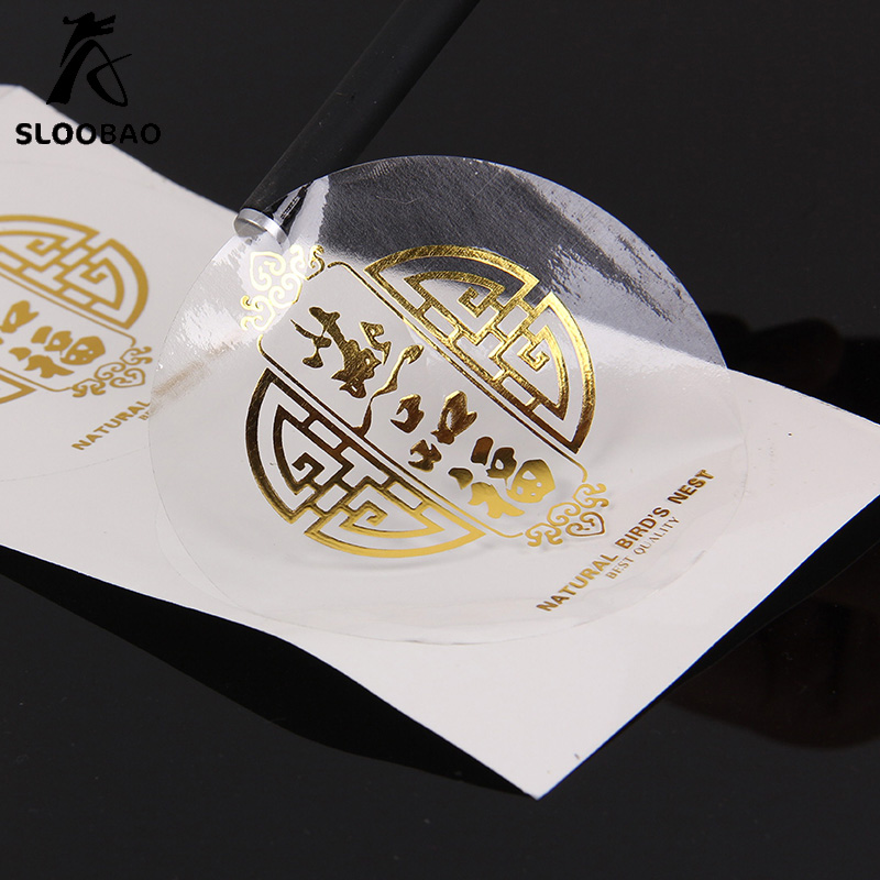Logo Print Clear Pvc Label Gold Or Silver Or Blue Or