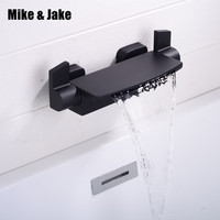 Brass cooper waterfall bathtub faucet matte black bath mixer hot and cold wall bath tap waterfall bath mixer