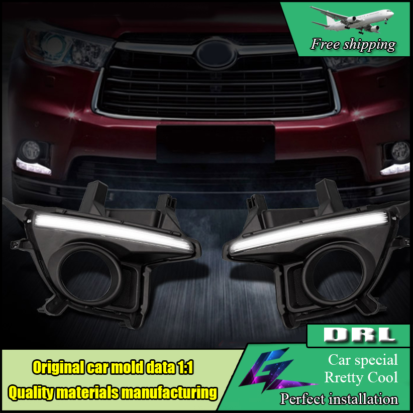 Car Styling LED DRL For Toyota Highlander 2015 2016 Car LED Daytime Running Light Fog Lamp Frame Auto Day Driving Lamp DRL auto clud car styling for toyota highlander led drl for highlander high brightness guide led drl led fog lamps daytime running l
