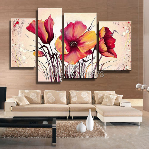 Hand Painted Large Canvas Art Cheap Modern Wall Art Decorative Flower  Pictures 4 Piece Canvas Painting