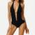 Hodoyi Apparel Negro Trajes de Baño Mujeres Sexy Profundo V Neck Equipada Delgado Summer Beach Correas Espaguetis Alta de La Pierna Del Mono Monos