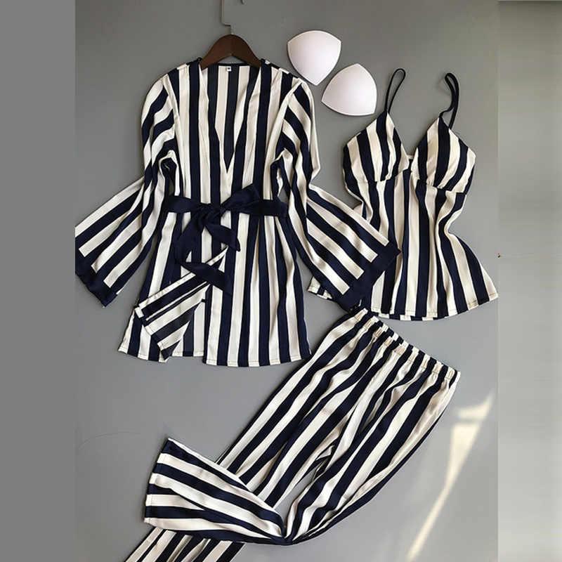 Kadın Pijama setleri 3 adet moda spagetti kayışı saten Pijama kadın çizgili uzun kollu yaz ev giyim Pijama