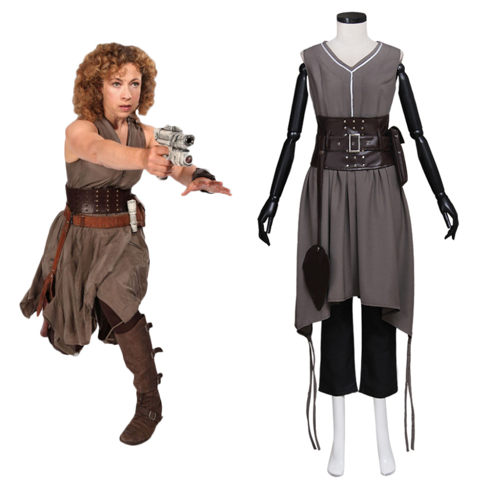 Doctor Who Cosplay Doctor Who River Song Alex Kingston Dress Costume Adult Women's Halloween Costume Cosplay image