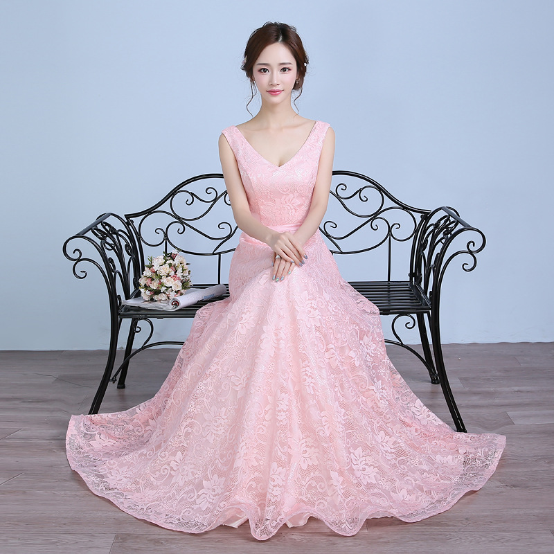 Pink   Bridesmaid     Dresses   Pretty A-line V-neck Sleeveless Plus Sizes Wedding Party   Dress   Elegant for Women Lady