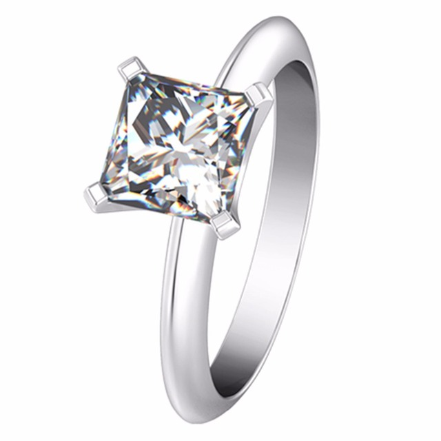 2CT Princess Cut Female Ring Solid 18K White Gold SONA Man made Diamond  Au750 White Gold Solitaire Women Brand Quality Ring 02f7f243c7
