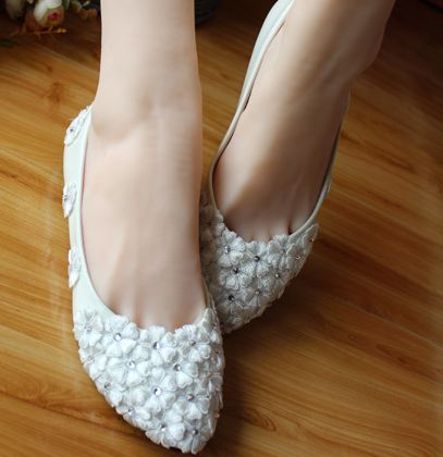 ФОТО 2017 Spring brand new coming wedding shoes flats for women TG141 white lace flower rhinestones female ladies girls party shoe