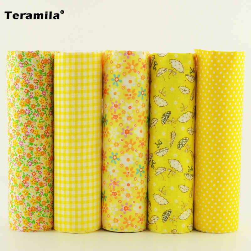 Materials Sewing Plain 5 Pieces 50cm*50cm 5 Free Pattern Cotton Fabric Tissues Different Color Desk and Gift Decoration Art Work