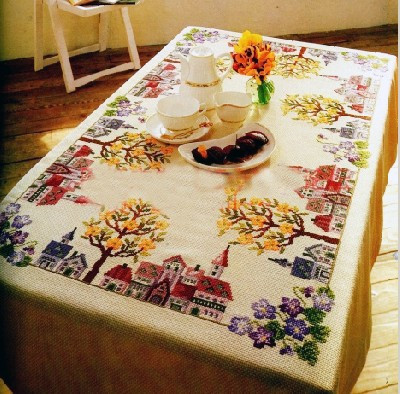 Top Quality lovely counted tablecloth table cross stitch kit house home tree city town