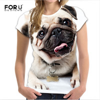 FORUDESIGNS Kawaii Puppy Pug Dog Top Tees Funny 3D Summer Short Sleeve Tshirt For Women Casual