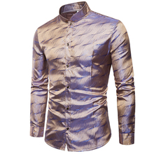 Mens Trend Night Club Wear Coated Metallic Gold Shirts Party Shiny Long Sleeves Dress Men Tuxedo Shirt Chemise Homme XXXL