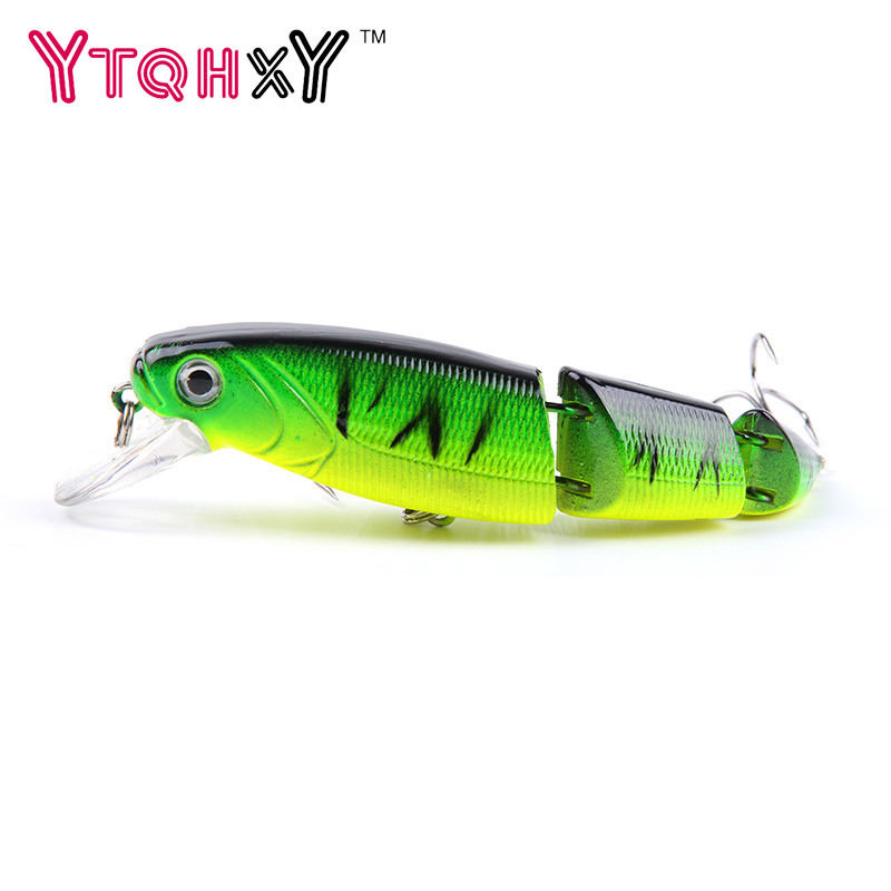1Pcs 3 Sections Top Water Minnow Fishing Lures Swimbait Jointed Hook Crankbait 10.5cm Crazy wobblers fishing tackle YE-248