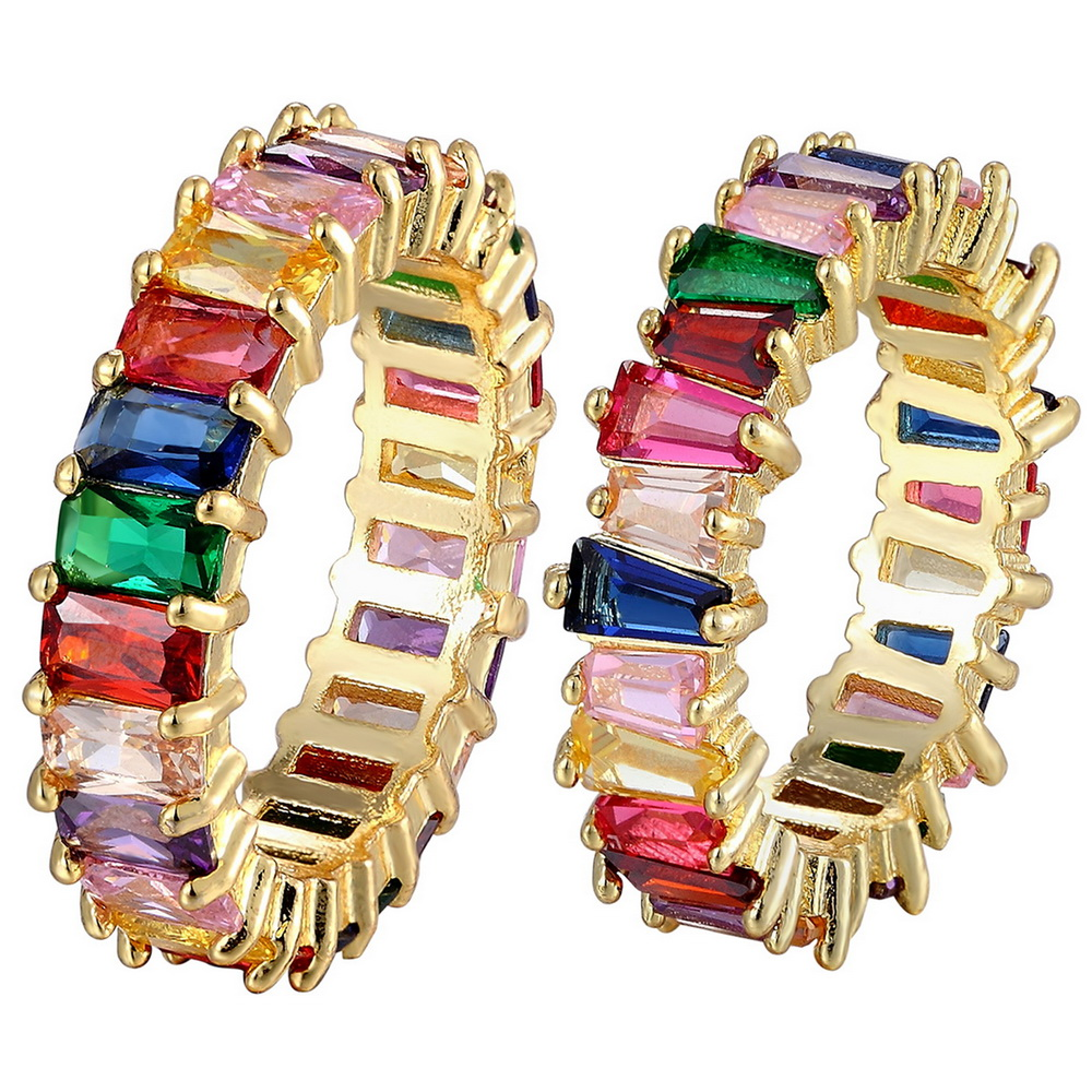 Hot Sale Thin Baguette Rainbow CZ Gold Ring For Women Fashion Engagement Wedding Band Top Quality Charm Jewelry 1