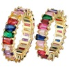 Hot Sale Thin Baguette Rainbow CZ Gold Ring For Women Fashion Engagement Wedding Band Top Quality Charm Jewelry