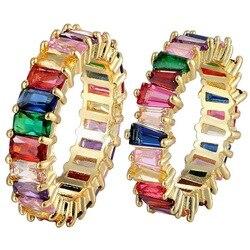 Gorąca sprzedaż cienka bagietka Rainbow CZ złoty pierścionek dla kobiet moda obrączka zaręczynowa najwyższej jakości urok biżuterii