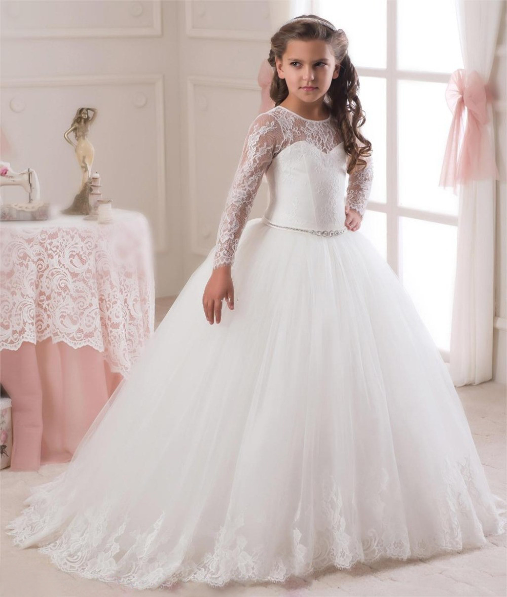 2019 Long Sleeves White Ivory Flower Girl Dress with Bow Sash O-Neck Ball Gown Pageant Gowns Girls First Communion Dress white casual round neck ruffled dress