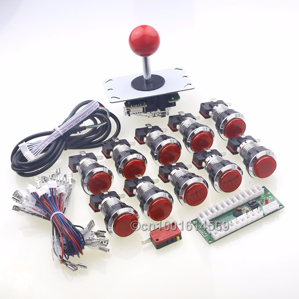 цена Arcade DIY Kit Part USB Encoder To PC 5 Pin 8 Way Joystick + 10 Chrome Silver LED Buttons For Raspberry PI Retropie 3B Project в интернет-магазинах