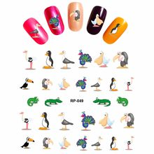 NAIL ART BEAUTY NAIL STICKER WATER DECAL SLIDER CARTOON ANIMAL PET ZOO ELEPHANT PANDA DUCK CAMEL LION RP049-054(China)