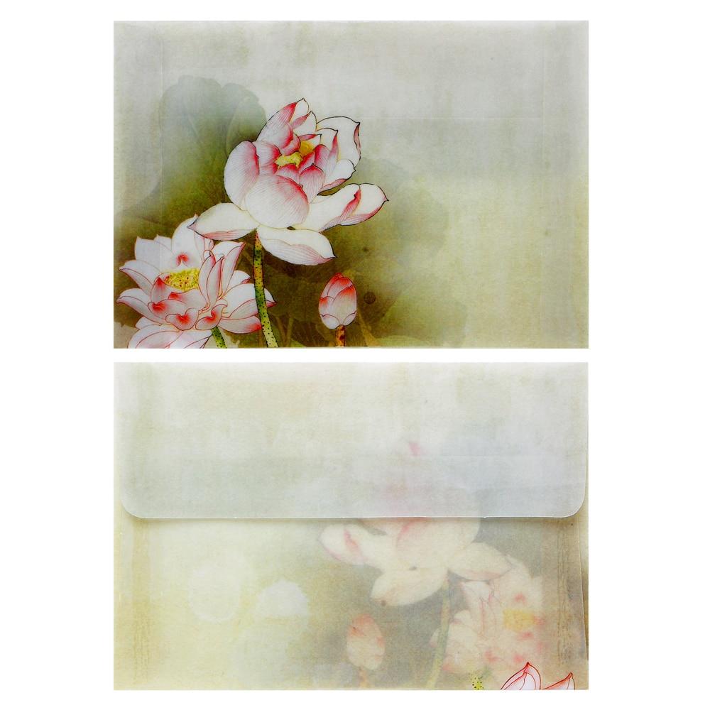 10 шт. Винтаж Китайский Лотос стиль пустой полупрозрачный перлум конверты для письма бумага открытки корейский канцелярские
