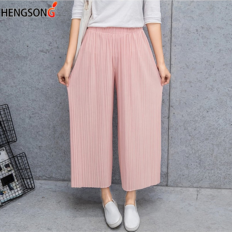 Cool Summer Fold Pleated Palazzo   Pants   Women Bottoms Casual   Pants   Mid Waist   Wide     Leg     Pants