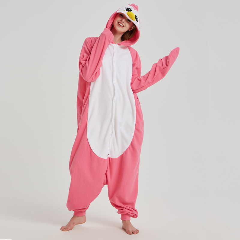 Teenagers Pink Onesies Adult Pajamas Penguin Polar Fleece Kigurumi For Halloween One-piece Jumpsuit Pijama Cosplay Parties (7)