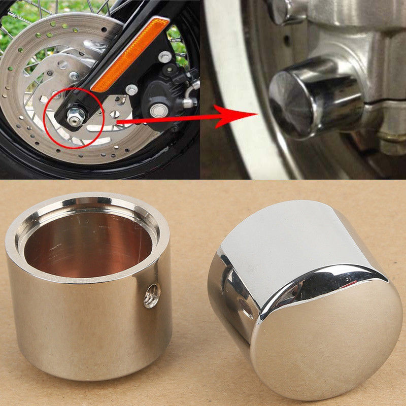 Chrome Front Axle Nut Cover Bolt For Harley <font><b>Street</b></font> 500 <font><b>XG750</b></font> <font><b>Street</b></font> Electra Tr Glide Softail Road King FLTR FLHT FLHRC Sportster image