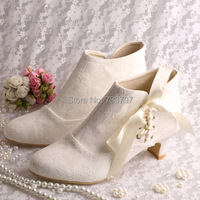 Magic Bride Name Brand Ribbon Bridal Wedding Boots Ivory Lace Short Low Heeled Size 8 Free