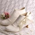 Magic Bride Name Brand Ribbon Bridal Wedding Boots Ivory Lace Short Low Heeled Size 8