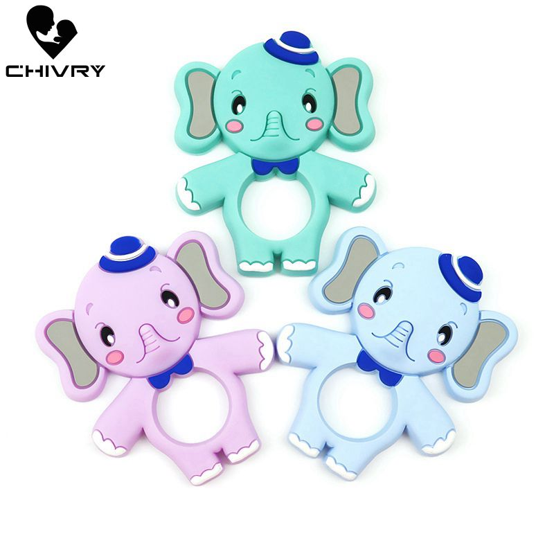 Chivry Cute Cartoon Baby Teether Food Grade Silicone Animal Elephant Koala Panda Teething Necklace Toys DIY Newborn Gifts