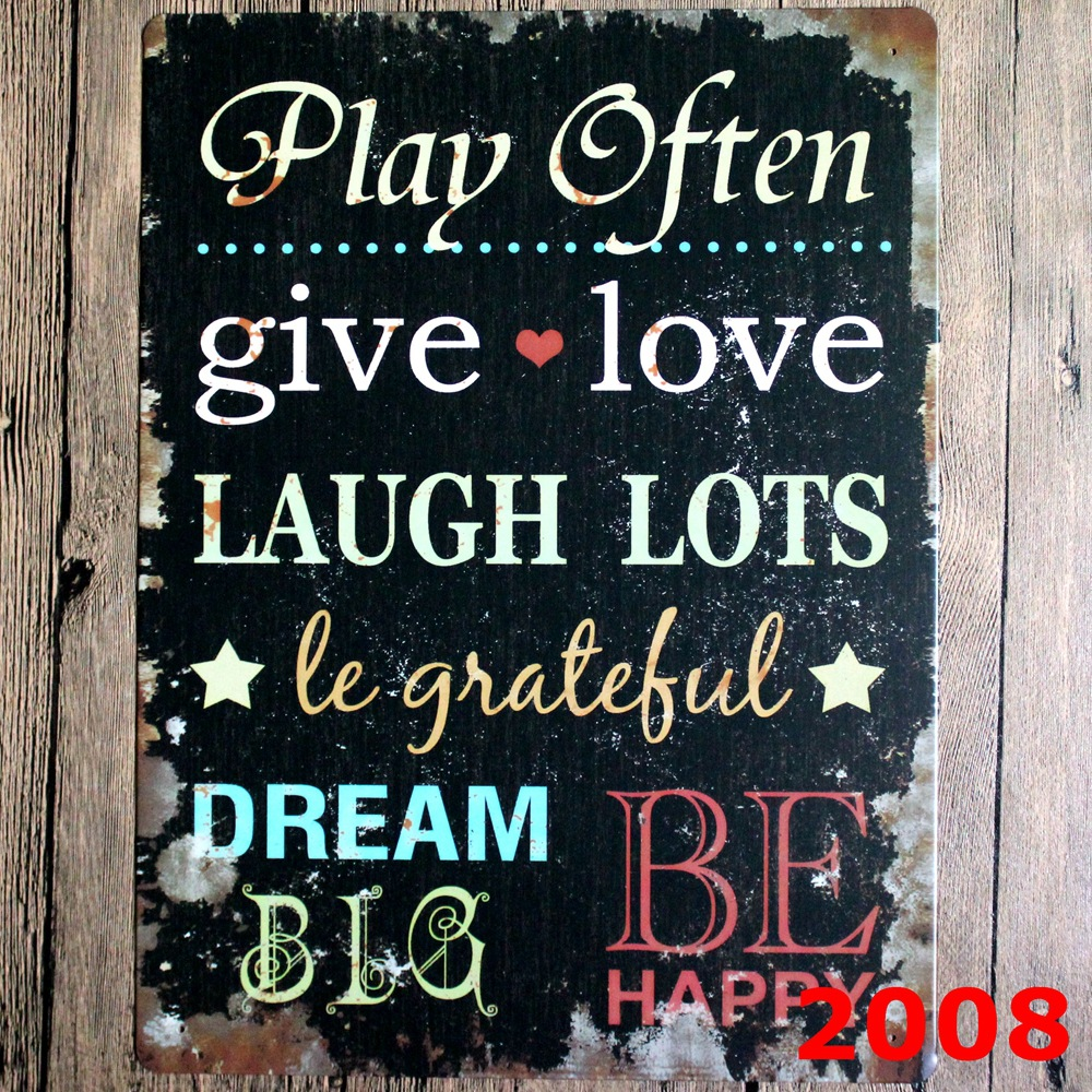 Give love Direct selling large Vintage license plate Wall art craft metal painting vintage Iron for bar home decor 30x40cm