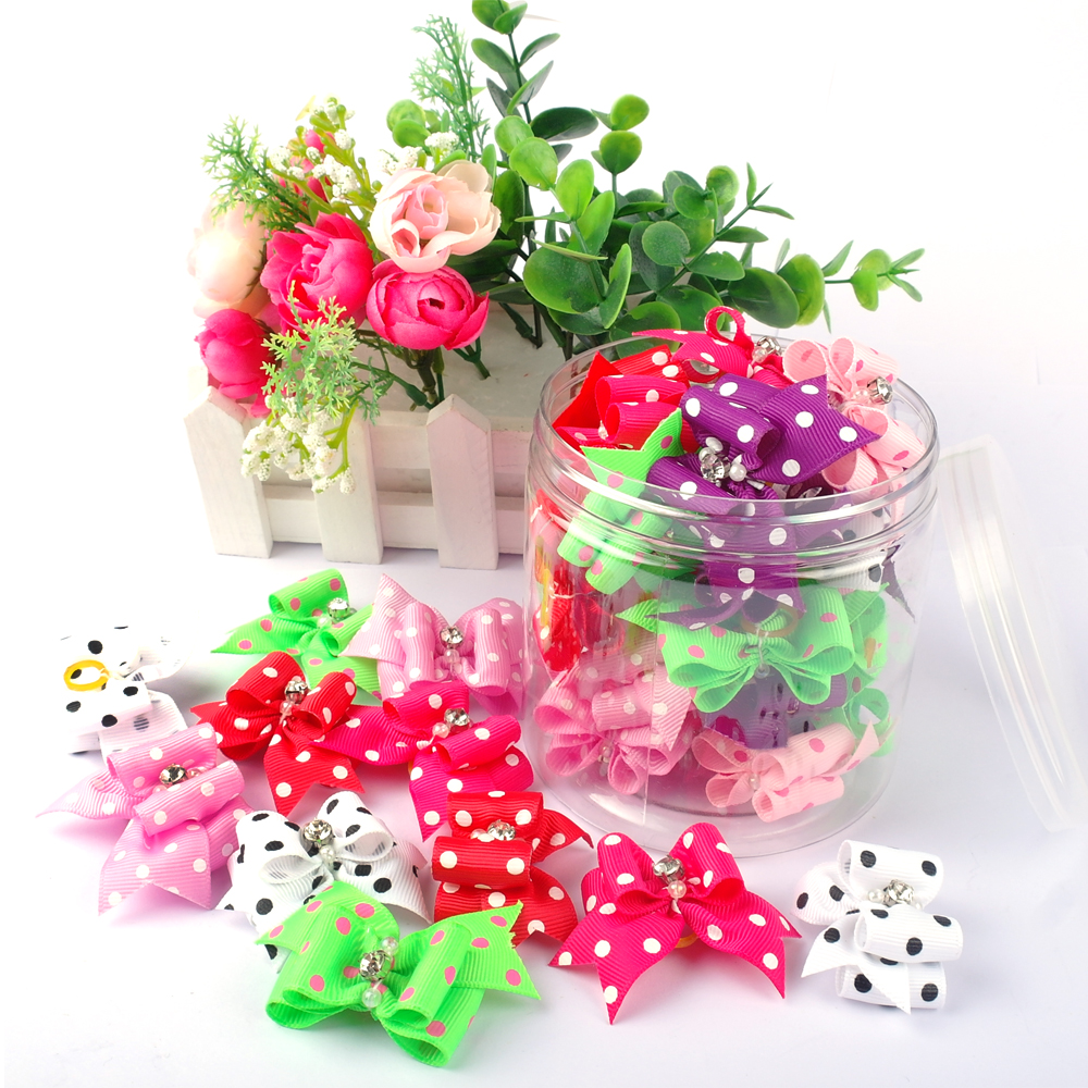 20 50 pcs Cute font b Pet b font Grooming Accessories Dog Hair Bows With Rubber