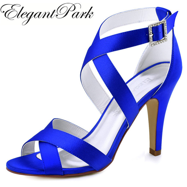 Summer Sandals Woman High heel Pumps Navy Blue Peep Toe Cross Strap Buckle  Satin Prom Dress Wedding Bridal Shoes HP1705 97baca1afd75