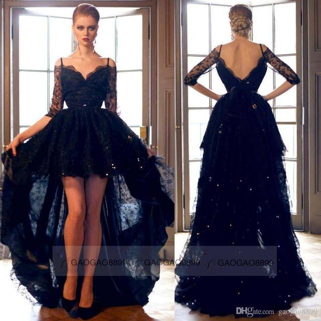 d9c34c3af0 Sexy Black Lace Hi Lo Formal Evening Prom Dresses Off Shoulder Backless Long  Sleeve Plus Size Celebrity Party Gowns Arabic Custo