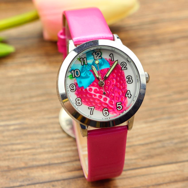 Promotion Middle And Little Children Cute Fruit Strawberry Dial Quartz Watch Kids Lovely Jelly Leather Xmas Birthday Gift Clock