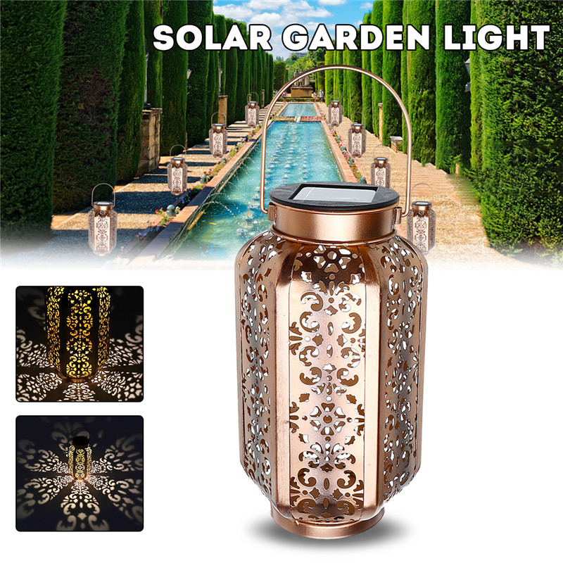 Mising Solar Garden Light Led Vintage Metal Lantern LED Light Outdoor Landscape Yard Lamp