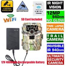 940NM Scouting Hunting Camera Blueskysea SG-880V HD 1080P 12MP Night Vision Infrared Trail Camera+16GB Wifi Card+4800mAh Battery