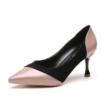2018 new women s single shoes Korean version of the wild shallow mouth 7 cm high  heels 5952b9c9990a
