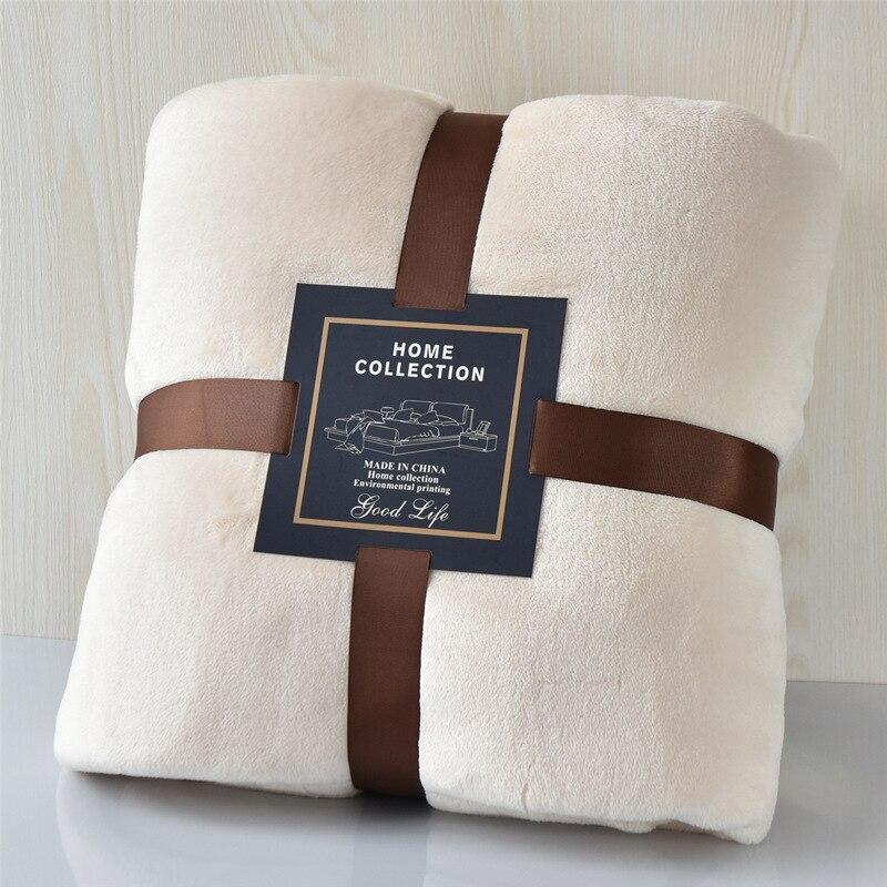 High Quality Solid Color Coral Fleece Blanket Soft Home Sofa Bed Blanket Warm Portable Travel Fluff Blanket Office Blanket